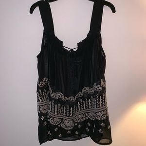 Small sheer black detailed sleeveless blouse
